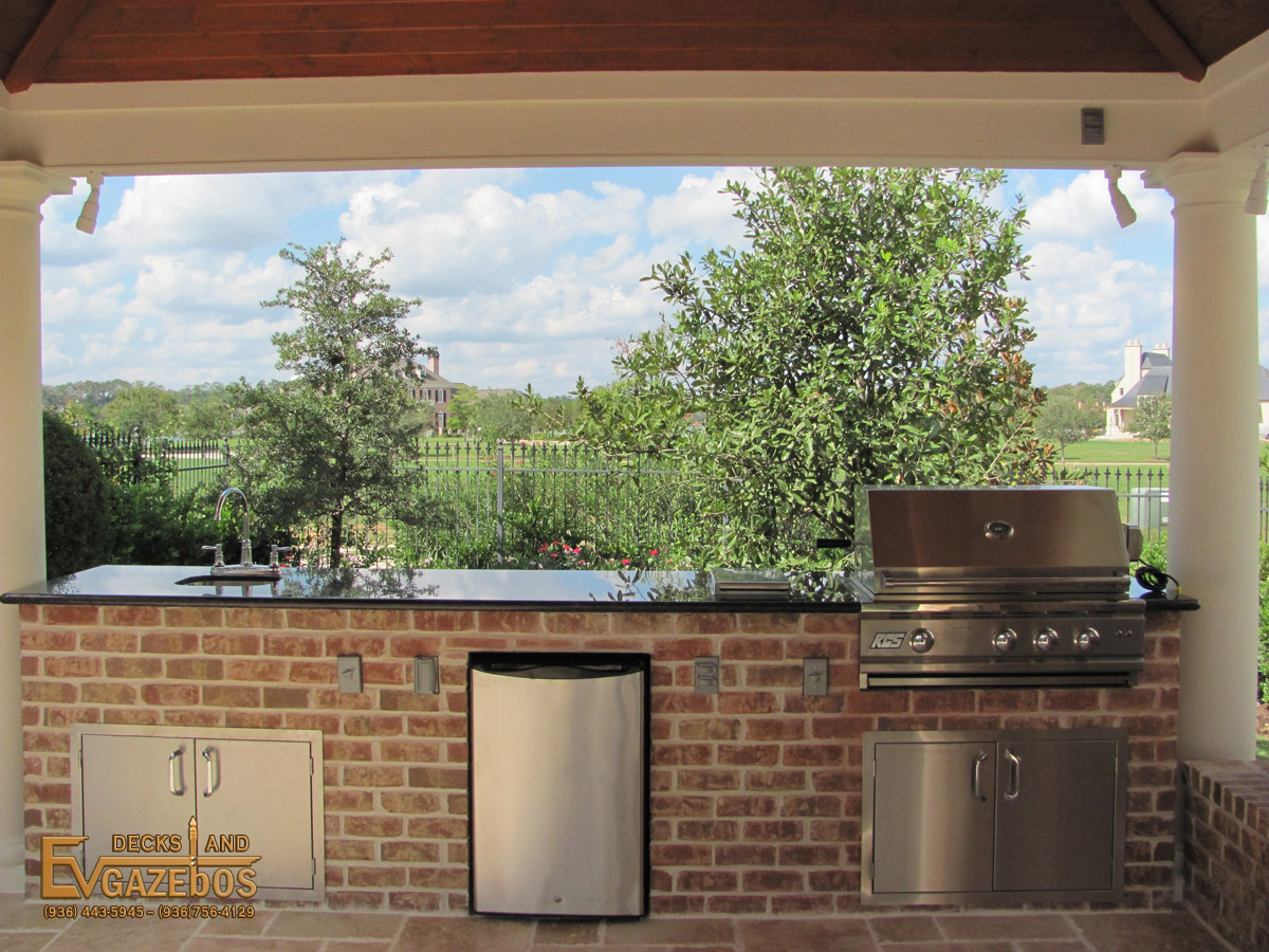 outdoor kitchen fireplace builder in houston texas ev decks